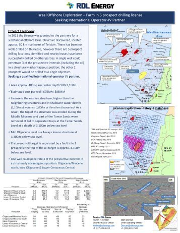 Israel Offshore_Farm Out for Operator_RDL ENERGY