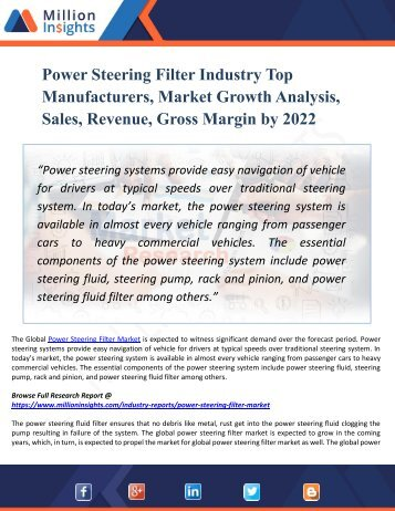 Power Steering Filter Market - Global Industry Analyzed for Booming Growth of USD 11.5 Billion by 2022