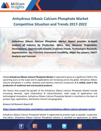 Anhydrous Dibasic Calcium Phosphate Market Competitive Situation and Trends 2017-2022