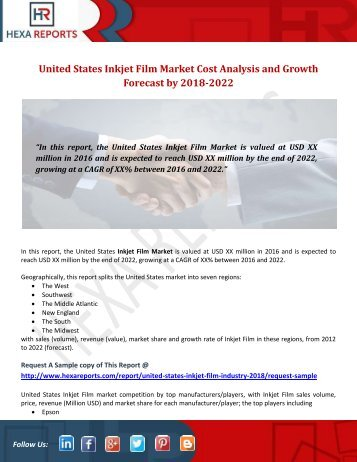 United States Inkjet Film Market Cost Analysis and Growth Forecast by 2018-2022