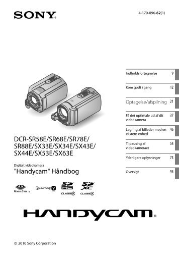Sony DCR-SX53E - DCR-SX53E Consignes d'utilisation Danois