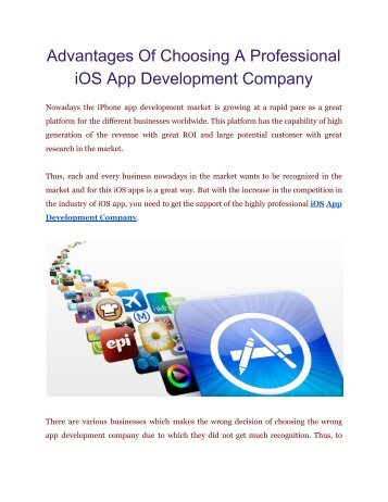 Profit from Choosing Professional iOS App Development Company | FineSoft Technologies