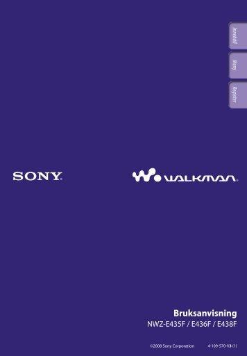 Sony NWZ-E435F - NWZ-E435F Consignes d'utilisation Suédois