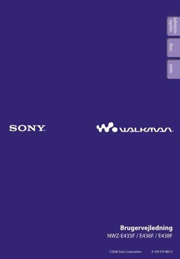 Sony NWZ-E435F - NWZ-E435F Consignes d'utilisation Danois