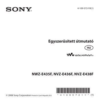 Sony NWZ-E435F - NWZ-E435F Mode d'emploi Hongrois