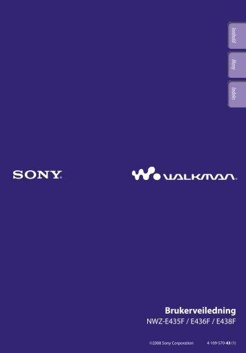 Sony NWZ-E435F - NWZ-E435F Consignes d'utilisation Norvégien