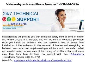 Malwarebytes Issues Phone Number 1-800-644-5716
