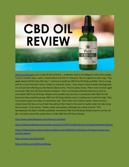 CBD Pure Oil Drops - Review