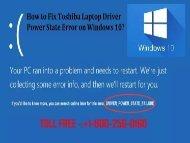 Fix Toshiba Laptop Driver Power State Error on Windows 10