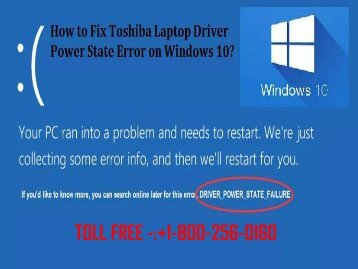 Fix Toshiba Laptop Driver Power State Error on Windows 10