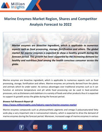 Marine Enzymes Market Shares and Growth Analysis Forecast to 2022