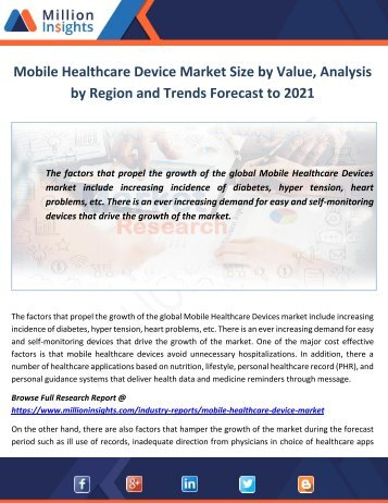 Mobile Healthcare Device Market Analysis by Region and Trends Forecast to 2021