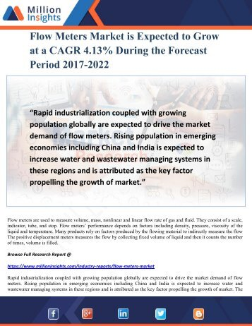 Flow Meters Market is Expected to Grow at a CAGR 4.13% During the Forecast Period 2017-2022