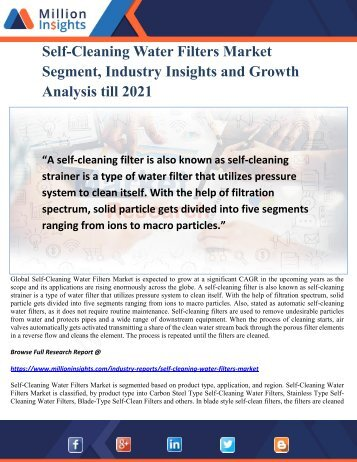 Self-Cleaning Water Filters Market Segment, Industry Insights and Growth Analysis till 2021