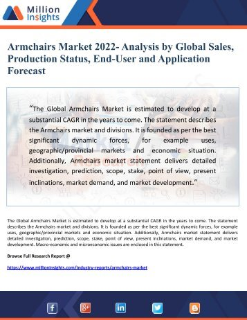 Armchairs Market 2022- Analysis by Global Sales,   Production Status, End-User and Application Forecast