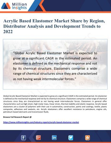 Acrylic Based Elastomer Market Share by Region, Distributor Analysis and Development Trends to 2022