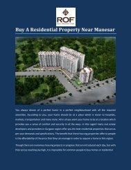 Buy A Residential Property Near Manesar