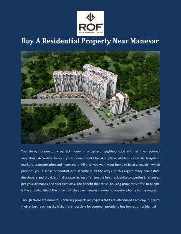 Buy A Residential Property Near Manesar