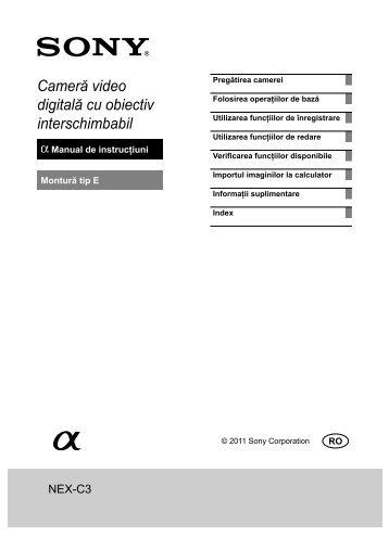 Sony NEX-C3A - NEX-C3A Mode d'emploi Roumain
