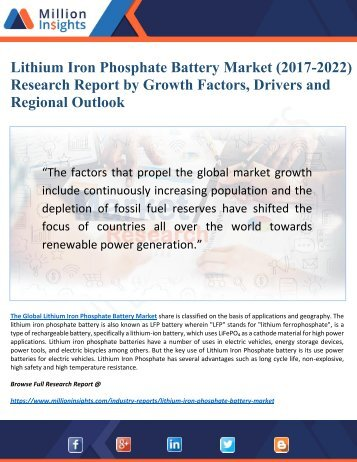 Lithium Iron Phosphate Battery Market Research Report by Opportunities, Growth and Analysis to (2017-2022)