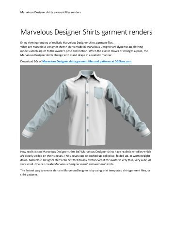 Marvelous Designer Shirts Garment Files