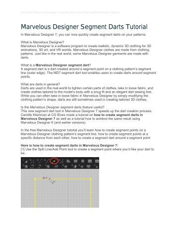 Marvelous Designer 7 Tutorial Segment Darts by Camille Kleinman CGelves