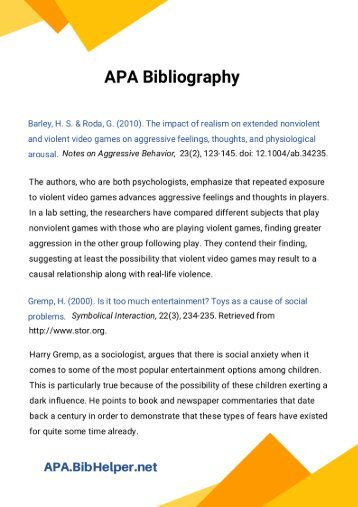 APA Annotated Bibliography Sample