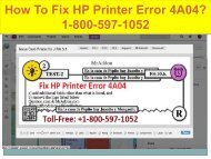 Call +1-800-597-1052  Fix HP Printer Error 4A04 | For HP help