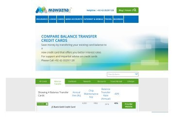 Compare Balance Transfer Credit Cards Pakistan