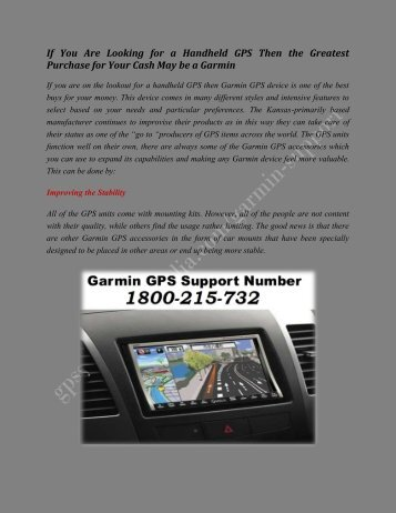 Garmin GPS Technical Support Phone Number 1800215732