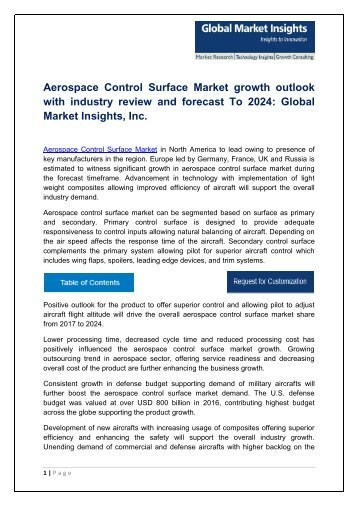 Aerospace Control Surface Market By Technology, Application, Region – Forecast to 2024