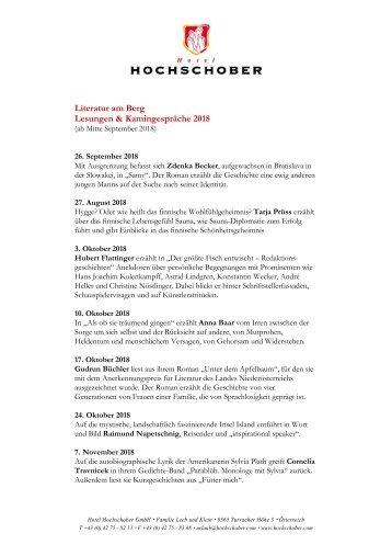 Hotel Hochschober Programm Lettering Nov 2018