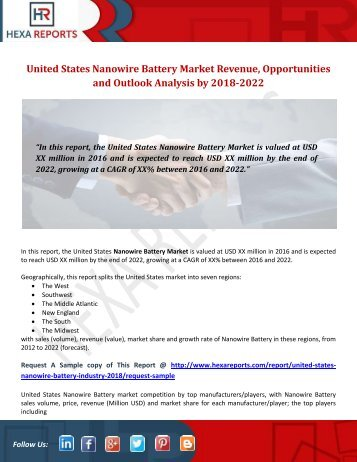 United States Nanowire Battery Market Revenue, Opportunities and Outlook Analysis by 2018-2022