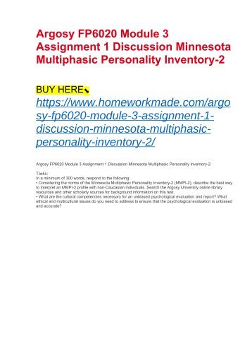 Argosy FP6020 Module 3 Assignment 1 Discussion Minnesota Multiphasic Personality Inventory-2