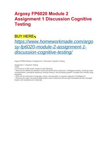 Argosy FP6020 Module 2 Assignment 1 Discussion Cognitive Testing