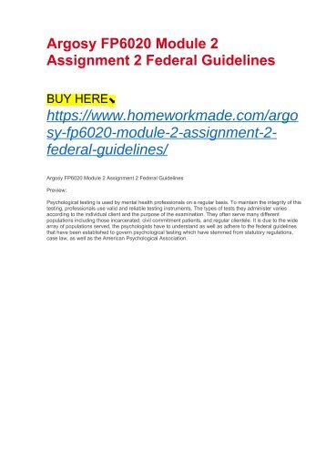 Argosy FP6020 Module 2 Assignment 2 Federal Guidelines