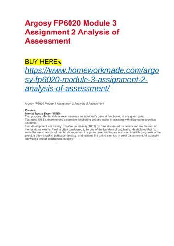 Argosy FP6020 Module 3 Assignment 2 Analysis of Assessment