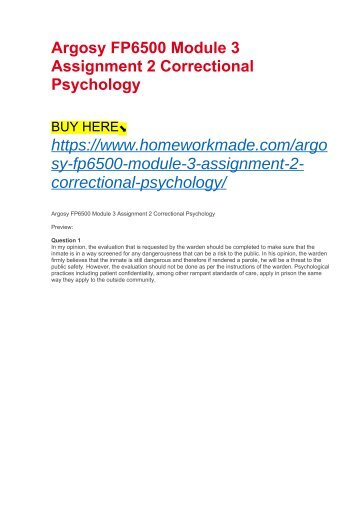 Argosy FP6500 Module 3 Assignment 2 Correctional Psychology