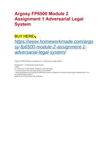 Argosy FP6500 Module 2 Assignment 1 Adversarial Legal System