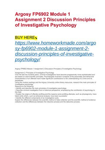 Argosy FP6902 Module 1 Assignment 2 Discussion Principles of Investigative Psychology