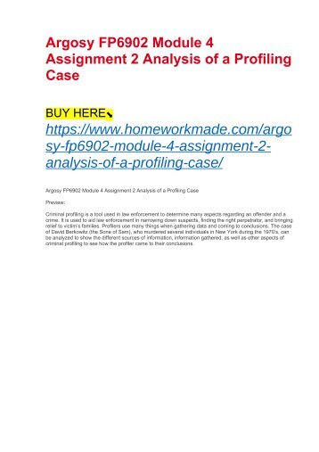 Argosy FP6902 Module 4 Assignment 2 Analysis of a Profiling Case