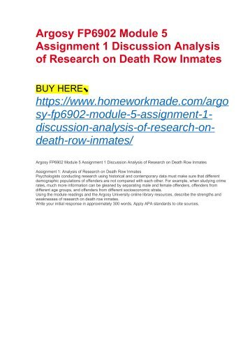 Argosy FP6902 Module 5 Assignment 1 Discussion Analysis of Research on Death Row Inmates