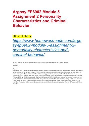 Argosy FP6902 Module 5 Assignment 2 Personality Characteristics and Criminal Behavior