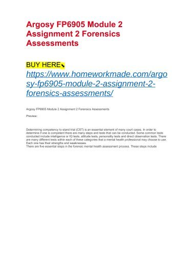 Argosy FP6905 Module 2 Assignment 2 Forensics Assessments