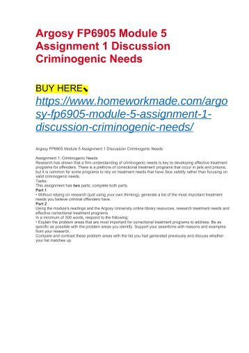 Argosy FP6905 Module 5 Assignment 1 Discussion Criminogenic Needs