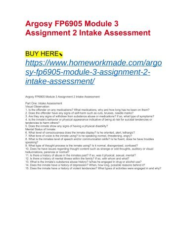 Argosy FP6905 Module 3 Assignment 2 Intake Assessment