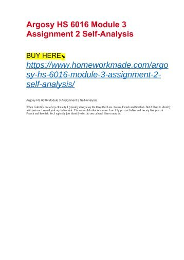 Argosy HS 6016 Module 3 Assignment 2 Self-Analysis