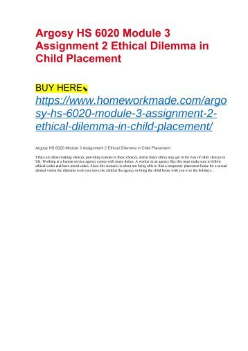 Argosy HS 6020 Module 3 Assignment 2 Ethical Dilemma in Child Placement