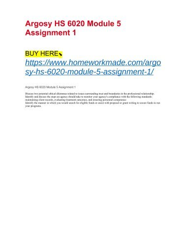 Argosy HS 6020 Module 5 Assignment 1
