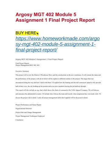 Argosy MGT 402 Module 5 Assignment 1 Final Project Report